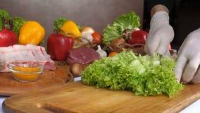 Close-up van het snijden van salade op een houten raad, de handen van een chef-kok met handschoenen Tegen het achtergrondvlees, g stock videobeelden