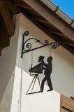 Close-up van het teken van de straatwinkel in Megève Royalty-vrije Stock Foto's