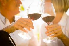 Close-up van hoger paar wordt geschoten die rode wijn drinken die royalty-vrije stock afbeeldingen