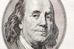 Close-up van honderd rekening Franklin Stock Afbeeldingen