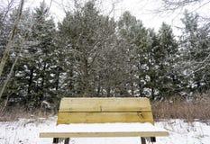 Close-up van houten die bank met sneeuw in een lang pijnboombos wordt behandeld, stock afbeelding