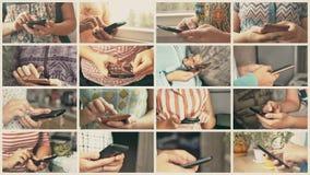 Close-up van jonge vrouwenhanden die sms typen stock footage