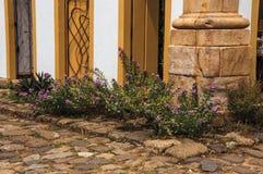 Close-up van keisteeg met oude kleurrijke deuren en gebloeide struiken in Paraty Stock Foto