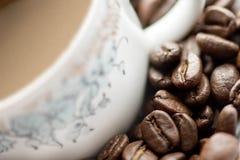 Close-up van koffiekop Stock Afbeeldingen