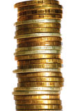 Close-up van kolom de gouden zilveren muntstukken Stock Afbeelding