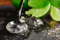 Close-up van kristalijs, bruine suiker, zilveren lepel en heldere sappige kalksegmenten met muntsegmenten Ingrediënten voor cockt royalty-vrije stock foto's