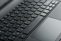 Close-up van laptop touchpad Royalty-vrije Stock Afbeeldingen