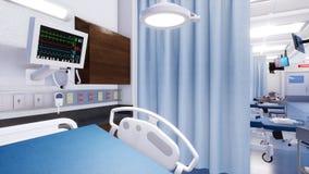 Close-up van leeg het ziekenhuisbed in noodsituatieruimte stock fotografie