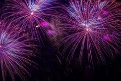 Close-up van levendig purper vuurwerk met vonken Explosieve pyrotechnic apparaten voor esthetische en vermaakdoeleinden royalty-vrije stock fotografie