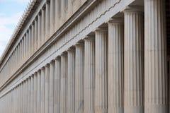 Close-up van marmeren Stoa van Attalos-colonnades Stock Fotografie