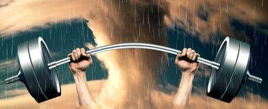 Close-up van menselijke handen die omhoog barbell opheffen Vector Illustratie