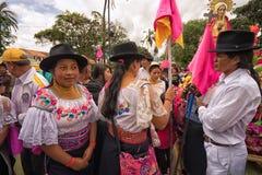 Close-up van mensen bij Pasen-optocht in Ecuador Stock Afbeelding