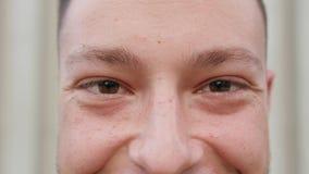 Close-up van Mensen` s Ogen en Neus stock footage