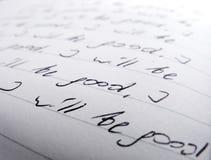 Close-up van met de hand geschreven teksten Royalty-vrije Stock Foto