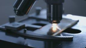 Close-up van microscoop wordt geschoten die stock video