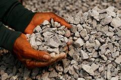 Close-up van mijnwerker in de mensenhanden wordt van het werken geschoten die concepten ongeveer mijnbouw voor de generatie van e royalty-vrije stock foto's