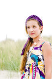 Close-up van modelmeisje op het strand Royalty-vrije Stock Afbeeldingen