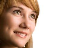 Close-up van mooi gezicht dat op wit wordt geïsoleerde Royalty-vrije Stock Afbeelding