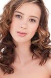 Close-up van mooi meisje met duidelijke maekeup Royalty-vrije Stock Fotografie