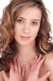 Close-up van mooi meisje met duidelijke maekeup Stock Afbeelding