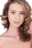 Close-up van mooi meisje met duidelijke maekeup Royalty-vrije Stock Foto's