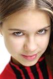Close-up van mooi meisje op witte achtergrond Stock Afbeelding