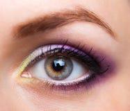 Close-up van mooi oog met betoverende make-up Royalty-vrije Stock Foto's