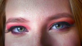 Close-up van mooie vrouwelijke blauwe ogenmake-up met roze schaduwen en gouden eyeline Ogen die het rechte wenkbrauw uitgaan kijk stock videobeelden