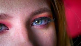 Close-up van mooie vrouwelijke blauwe oogmake-up met roze schaduwen en gouden eyeline Oog die recht camera op bekijken stock videobeelden