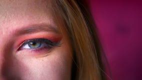 Close-up van mooie vrouwelijke blauwe oogmake-up met roze schaduwen en gouden eyeliner Oog die recht camera op bekijken stock videobeelden