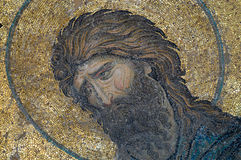 Close-up van mozaïek met John Doopsgezind, Hagia Sophia - Istanboel Royalty-vrije Stock Foto's