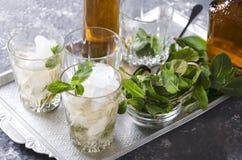 Close-up van muntmedicijndrankje Een alcoholische drank met verse munt, ijs en bourbon diende op het zilveren dienblad stock foto