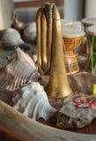 Close-up van muzikale die instrumenten tijdens Indische ceremonies worden gebruikt stock afbeeldingen