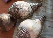 Close-up van muzikale die instrumenten tijdens Indische ceremonies worden gebruikt royalty-vrije stock foto