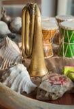 Close-up van muzikale die instrumenten tijdens Indische ceremonies worden gebruikt stock foto