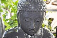 Close-up van nat gezicht van Boedha in de fontein van het werfwater met vage installaties op achtergrond stock afbeelding