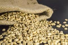 Close-up van niet geroosterde koffiebonen in hennepzak op zwarte achtergrond Royalty-vrije Stock Afbeelding