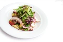 Close-up van octopussalade van hierboven stock foto