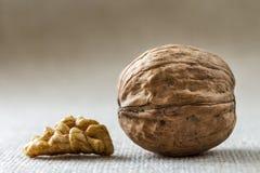 Close-up van okkernoot in houten die shell en pitten op lichte exemplaar ruimteachtergrond worden geïsoleerd Gezond natuurvoeding stock fotografie