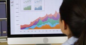 Close-up van onderneemster die grafieken op computer bekijkt Royalty-vrije Stock Foto's
