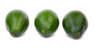 Close-up van organische avocado op witte achtergrond Gezond voedsel Tropische vruchten Drie verse en gehele avocado's Royalty-vrije Stock Fotografie