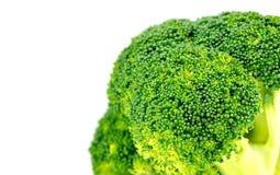 Close-up van organische groene broccolibloem met witte copyspace Stock Foto's