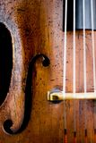Close-up van oude cello Stock Afbeelding