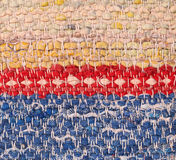 Close-up van oude geweven voddendeken Stock Afbeelding