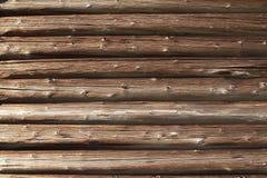 Close-up van oude logboekmuur Stock Fotografie