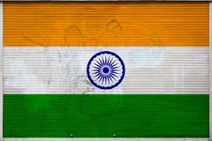 Close-up van oude metaalmuur met nationale vlag stock illustratie