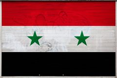 Close-up van oude metaalmuur met nationale vlag vector illustratie