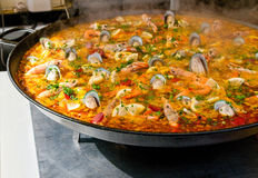 Close-up van paella Stock Foto's