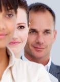 Close-up van partners die zich in een lijn bevinden Stock Foto