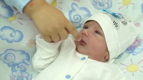 Close-up van pasgeboren baby en jongere broer` s hand stock footage